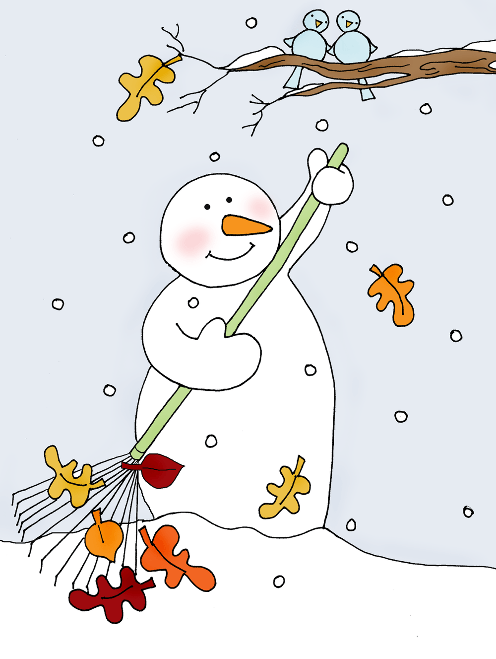 snowman raking fall leaves
